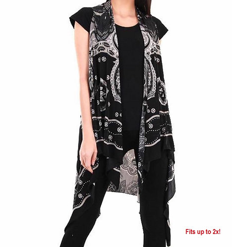 BK120 Black Spandex vest with grey paisley print