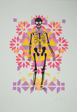 Day of the Dead Skeleton on Pink