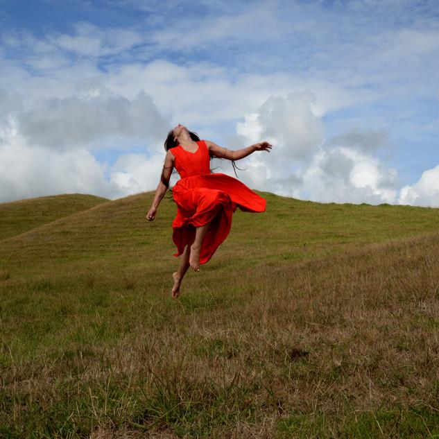 SELF PORTRAIT IN A RED DRESS