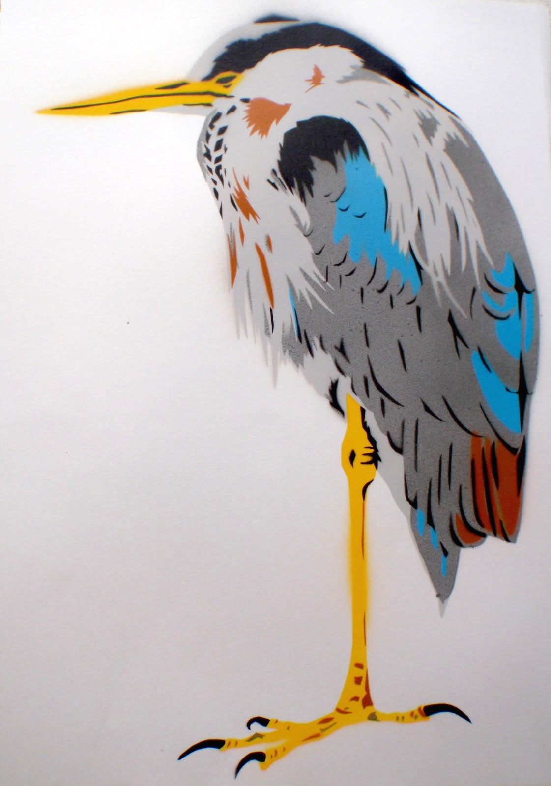 'Heron' Spray paint on paper..jpg