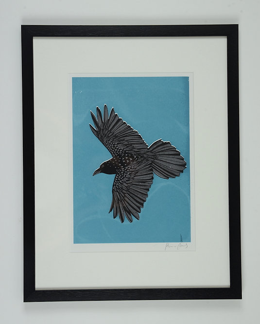 RAVEN Screenprint. Framed