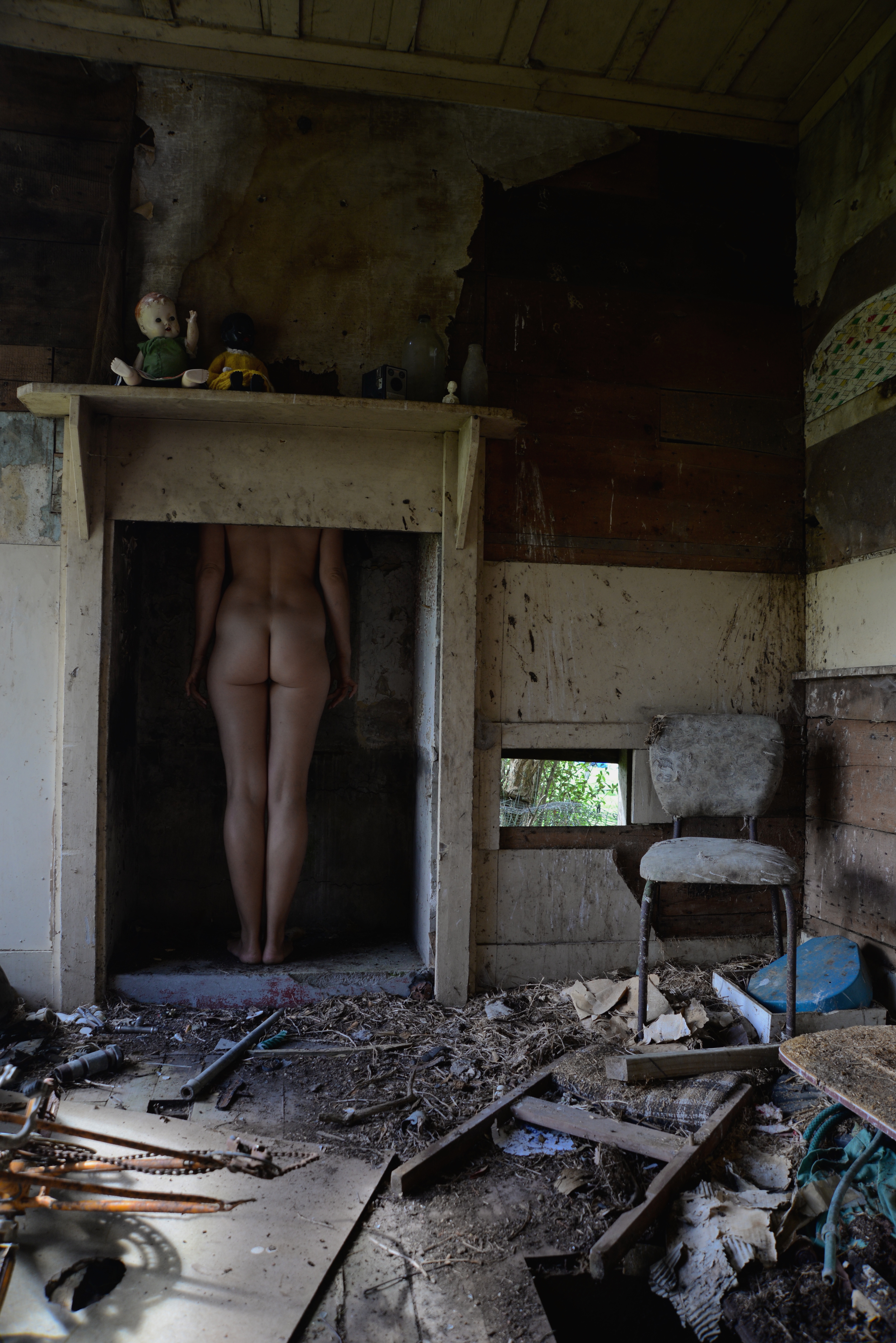nude in fireplace