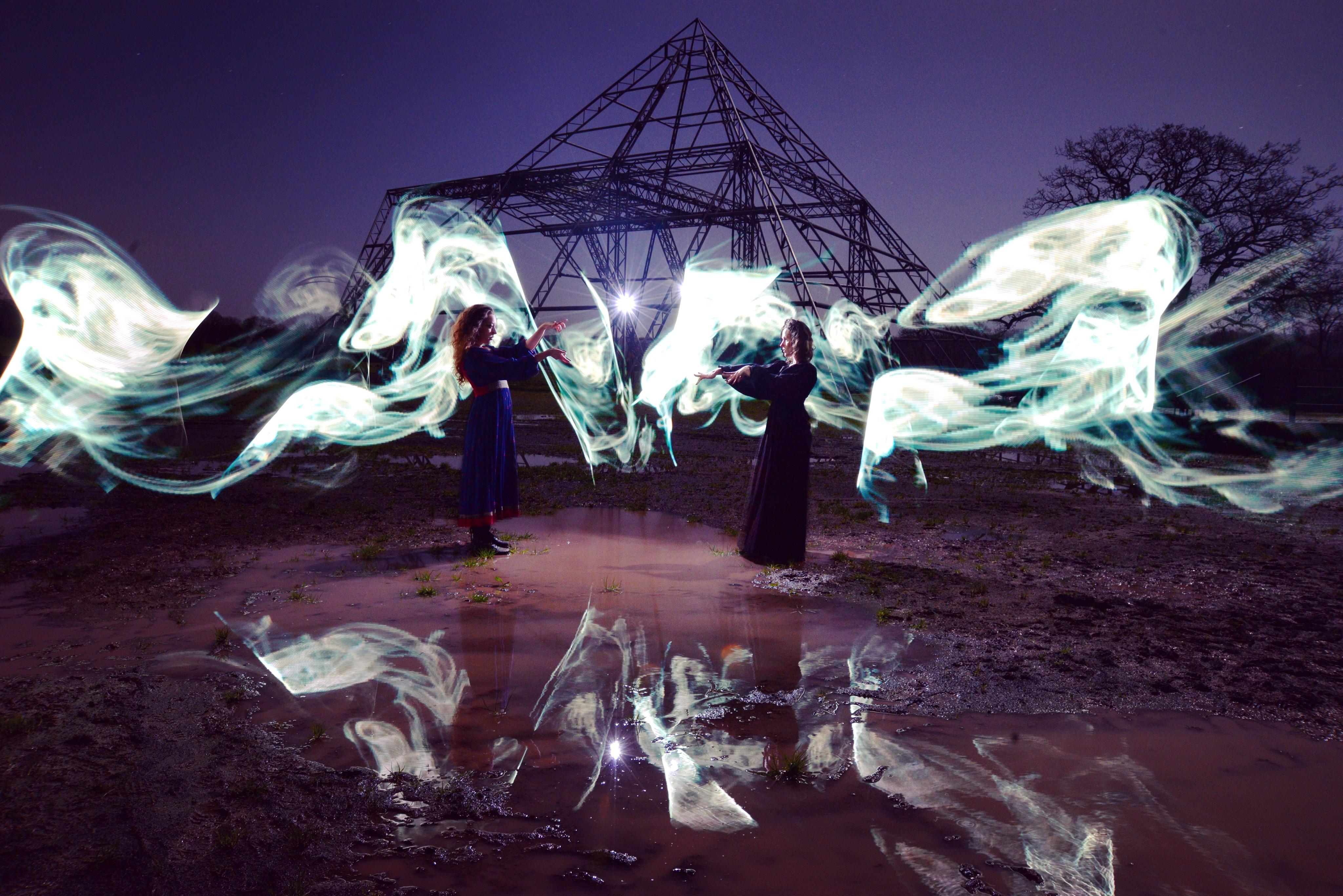 Pyramid stage worthy farm glastonbury festival magic pixelstick