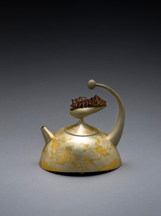 """""""Spring: Cherry Blossoms"""". Tea/Coffee Pot, 2018. Silver 24k gold Geumbu (heat overlay) and hammer-chiseled-line inlay 7.5"""" x 6.9"""" x 5.1""""."""
