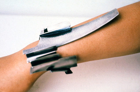"""Landscape"". Bracelet. 1972. Silver. 12"" x 6"" x 8"". Collection of Kim Hungsoo, Seoul, Korea."