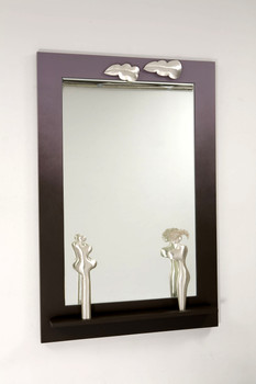"""""""He & She"""". Wall mirror. 2007. Silver, wood, paint, mirror. 70"""" x 48"""" x 5""""."""