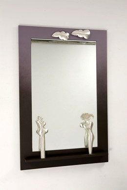 """He & She"". Wall mirror. 2007. Silver, wood, paint, mirror. 70"" x 48"" x 5""."