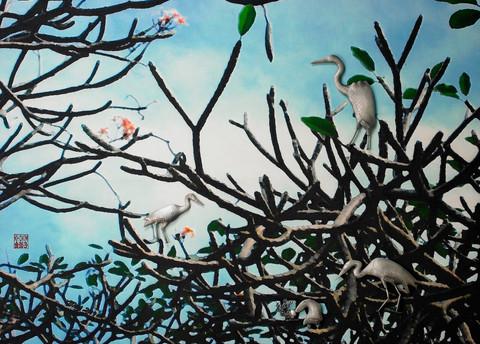 """Doorumii's New Homeland"". Wall relief. 2009. Digital photo printing on silk, silver, oil paint. 40"" x 60"" x 4""."