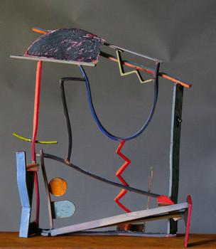"""Rainbow IV"". Sculpture. 2010. Copper, brass, patina, pigment oil crayon, steel. 32"" x 20"" x 12""."