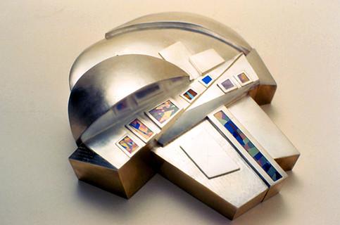 """Han River Bridges"". Urn-Container. 1983. Silver, titanium. 6"" x 12"" x 10""."