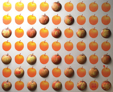 """Korean Pear"". Wall relief. 2011. Digital photo printing on silk, silver, copper, patina, oil paint. 50"" x 40"" x 4""."