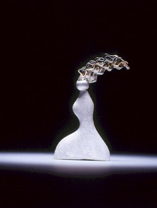 """""""Awaiting"""". Brooch. 2003. Fine & sterling silver. 3.5"""" x 2.5"""" x 0.375"""". Private collection, Seoul."""