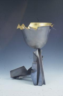 """Bridging cultures"". Sculptural landscape. Silver, 24K gold, steel. 18"" x 20"" x 16""."