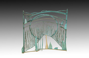 """""""Green Field"""". Wall sculpture. 2006. Silver, copper bronze, chemical patina. 39"""" x 41"""" x 10"""". Collection of Dongsik Ahn, Hawaii."""