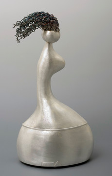 """Walking Alone"". Vessel. 2007. Silver, oxidation. 15"" x 10"" x 8""."