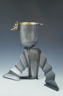 """Bridging east & west"". Sculptural landscape. 2000. Silver, 24K gold, steel. 18"" x 22"" x 16""."