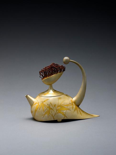 """Summer: Bamboo"". Tea/Coffee Pot, 2018. Silver, 24k gold Geumbu (heat overlay) and hammer-chiseled-line inlay. 8"" x 9.6"" x 4.1""."