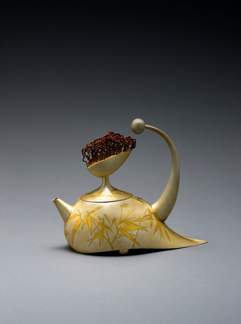 """Summer: Bamboo"". Tea/Coffee Pot, 2018. Silver, 24k gold Geumbu (heat overlay) and hammer-chiseled-line inlay. 8"" x 9.6"" x 4.1""."