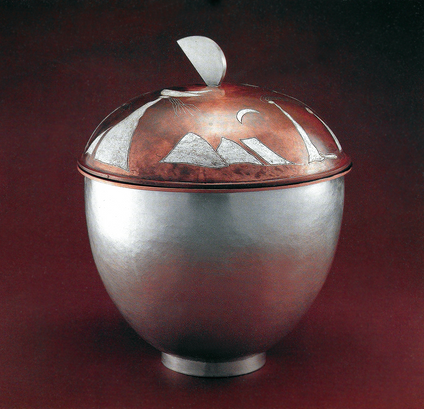 """Mountain Scape"". Large vessel with Damascene lid. 1987. Fine & sterling silver, copper, patina. 20"" x 10"" x 10"""