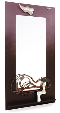 """Self Portrait"". Wall mirror. 2007. Silver, copper, patina, wood, mirror. 75"" x 45"" x 5""."