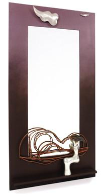"""Self Portrait"". Wall mirror. 2007. Silver, copper, patina, wood, mirror. 75"" x 45"" x 5""."