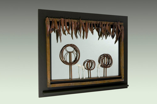 """""""Longing"""". Wall mirror. 2007. Silver, copper, patina, wood, mirror. 50"""" x 65"""" x 5"""". Private collection, Seoul."""