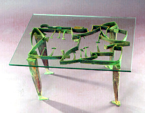 """""""Whispers Among the Trees II"""". Table. 1994. Brass, copper, patina. 17"""" x 27.5"""" x 31.5""""."""