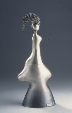 """Portrait of Vessel I."" 2002. 975 and sterling silver. 15"" x 9.5"" x 6""."