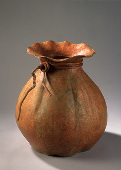"""""""Lucky Pouch"""". 2002. Copper, patina. 21.75"""" x 20"""" x 20""""."""