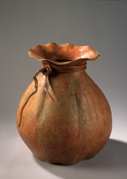 """Lucky Pouch"". 2002. Copper, patina. 21.75"" x 20"" x 20""."