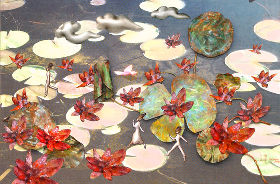 """""""Spring March"""". Wall relief. 2011. Digital photo printing on silk, silver, copper, patina, oil paint. 40"""" x 50"""" x 4""""."""