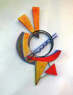 """""""Through the Space I"""". Wall relief. 2013. Steel oil stick, paint, crayon. 36"""" x 20"""" x 8""""."""