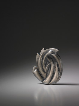 """""""POHANG Flower 2"""". Brooch. 2009. Silver, oxidation. 4"""" x 3"""" x 1"""". Private collection, Seattle, WA."""