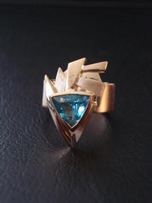 """Ring"". 18K gold, aquamarine."