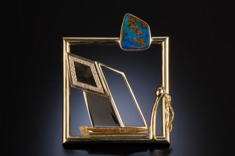 """""""Looking out the Window"""". Brooch. 2002. 14K & 18K gold, diamond, opal. 3.5"""" x 3.5"""" x 0.5""""."""
