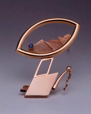 """""""Mountainscape 3"""". 2000. 14K & 18K gold, blue topaz. Collection of Kim Mi Yeon"""