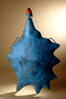 """Ocean Melody 1"". 2000. Copper, patina, wood. 48"". Collection of Carrie Singer, MD."