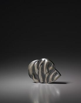"""POHANG Flower 1"". Brooch. 2009. Silver, oxidation. 4"" x 5"" x 1""."