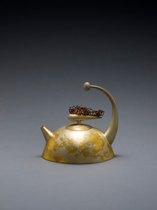 """Fall: Chrysanthemums"". Tea/Coffee Pot, 2018. Silver, 24k gold Geumbu (heat overlay) and hammer-chiseled-line inlay. 7"" x 7.5"" x 5.5""."