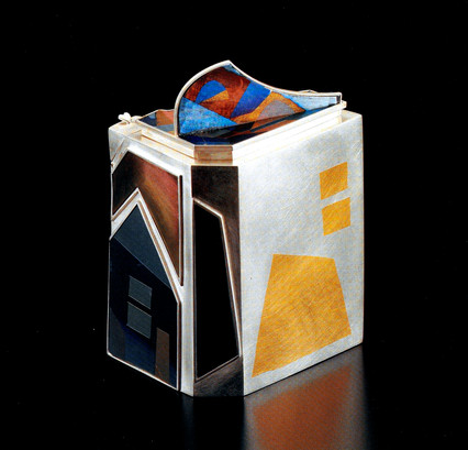 """The Blue Q Landscape"". Q tip Box. 1987. Sterling silver, 24K gold, anodized titanium & niobium. 8"" x 6"" x 6"". Collection of Park Yoon Chung."