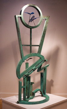 """Recollection of Peach Orchard"". Outdoor Sculpture. 2012. Bronze, steel, patina. 70"" x 50"" x 20""."