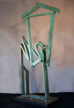 """Gateway Home"". Outdoor Sculpture. 2012. Bronze, steel, patina. 70"" x 50"" x 20""."