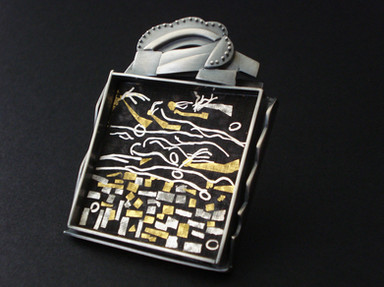 """""""Mountainscape"""". Brooch. 1997. Fine & sterling silver, 24K gold, steel. 5"""" x 4"""" x 1"""". Collection of Cho Namu."""