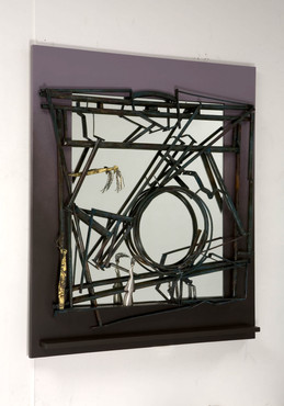 """Four Seasons"". Wall mirror. 2005-2007. Silver, copper, brass, patina, wood, mirror. 70"" x 70"" x 5""."