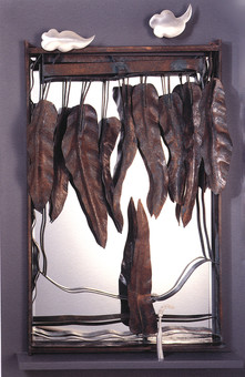 """""""Everlasting"""". Wall mirror. 2007. Silver, copper, brass, patina, mirror. 70"""" x 48"""" x 5"""". Collection of Song Kwang Ja."""