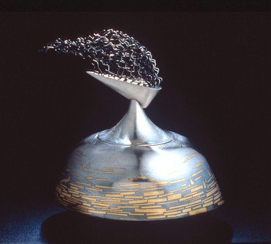 """By the Seaside 1"". 1996. Sterling silver, 24K gold. 6.5"" x 6"" x 4.5""."