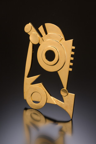 """""""Through the Space 9"""". Brooch. 18K red gold plated silver."""
