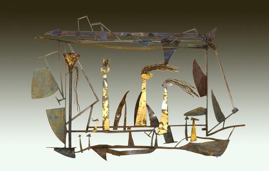 """Landscape Fantasia 2"". Garden sculpture. 2012. Copper, patina,oil stick, crayon. 60"" x 40"" x 10"". Collection of Giselle & Ben Huberman."