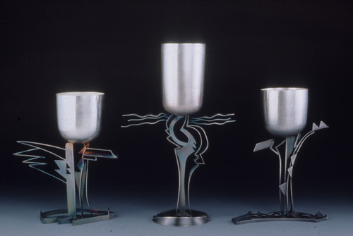 """""""Fantasia #3, #4, #2"""". Commemorative cups. Sterling silver, 24K gold plated. 12"""" x 16"""" x 3""""; 15"""" x 16"""" x 3""""; 12"""" x 16"""" x 3""""."""