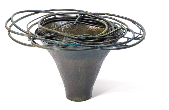 """Whirlpool"". Vessel. 2007. Copper, patina. 30"" x 30"" x 25""."